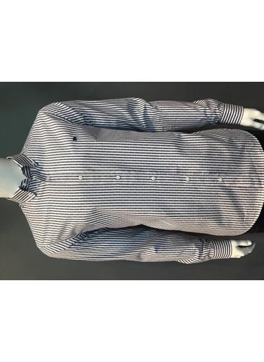 Abbate Düğmelı Yaka Çızgılı Slımfıt Casual Gömlek Lacivert